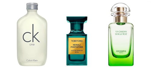 Calvin Kleins CK one, Tom Fords Neroli Portofino och Hermès Un Jardin Sur Le Toit.