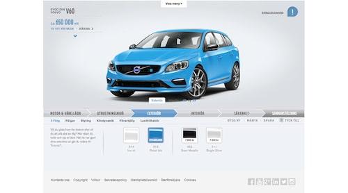 Bygg din Volvo som den ser ut i dag på Volvos webbplats.