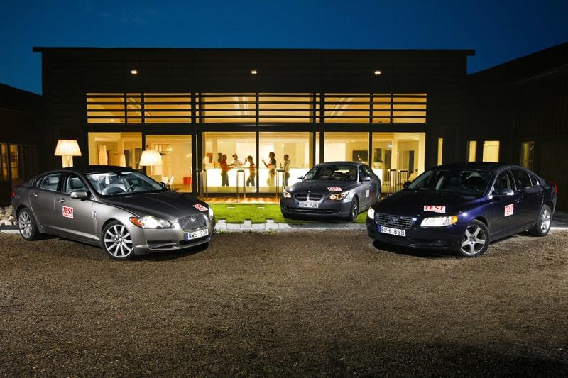 Jaguar XF 2,7 D, BMW 530d och Volvo S80 D5.
