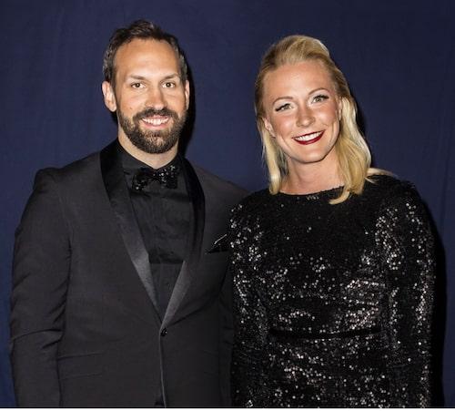 Sarah Sjöström och sambon Johan de Jong Skierus på Idrottsgalan. Foto: Getty Images