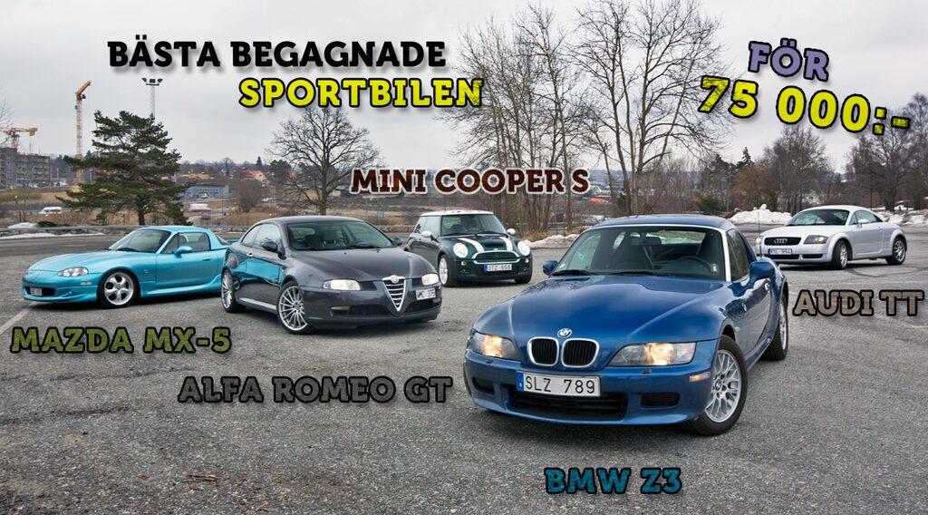 Mazda MX-5, Alfa Romeo GT, Mini Cooper S, BMW Z3 och Audi TT