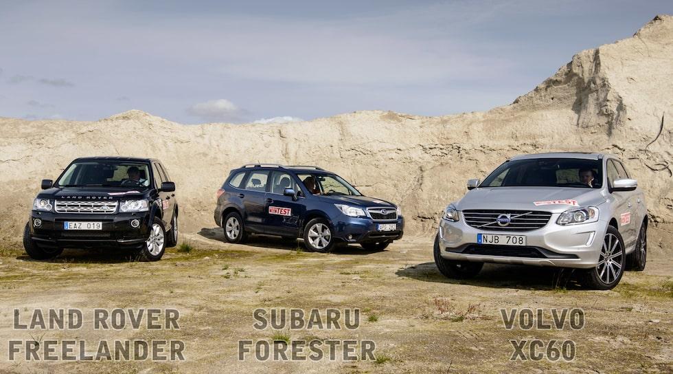 Land Rover Freelander, Subaru Forester och Volvo XC60