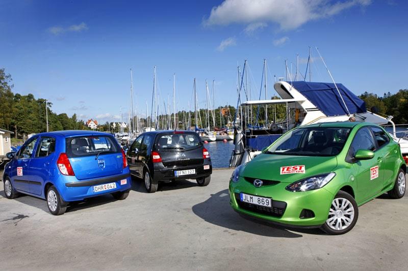 Mazda 2, Hyundai i10 och Renault Twingo.