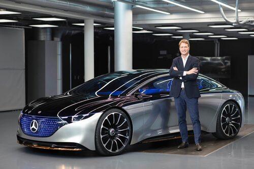 Mercedes Vision EQS förevisar märkets eldrivna lyxbil som lanseras 2021. Den bildar även bas för en kommande, eldriven Aston Martin Lagonda.