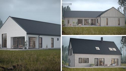 Kilsten är ett hus där det blir enkelt att ta vara på varje yta. Sjöbris är ett 1-planshus med härlig rymd och smart planlösning.Skiffer passar den nytänkande familjen som gillar spännande designlösningar.