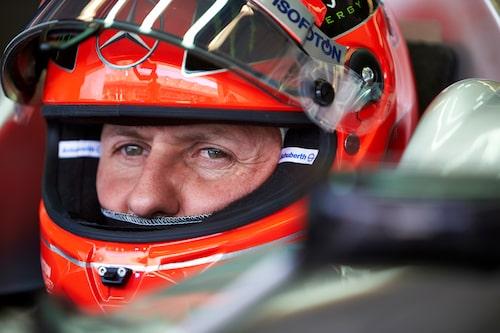 En koncentrerad Michael Schumacher innan hans näst sista F1-lopp i karriären – USA:s Grand Prix den 18 november 2012.