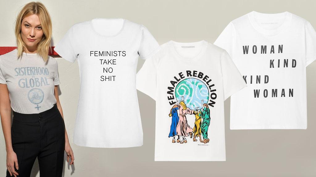 Fira den internationella kvinnodagen med en t-shirt med feministisk slogan.