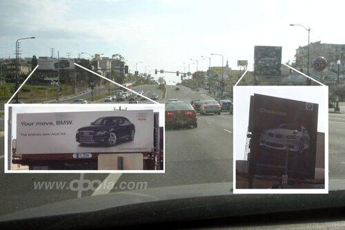 Reklamfajten längs Santa Monica Boulevard förra året.