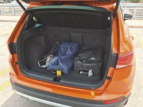Bagageutrymmet i Ateca är mindre än hos kusinen Volkswagen Tiguan...