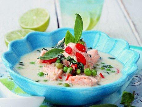 Recept på lax. Laxsoppa med kokos.