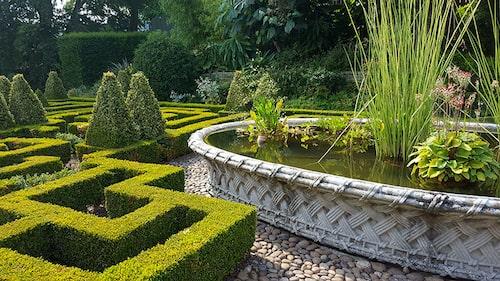 Läcker buxbomsparterr och damm iBourton House Garden.