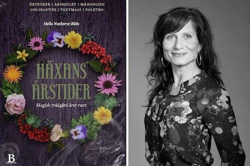 Hella Nathorst-Böös, häxa och författare till boken Häxans årstider - Magisk trädgård året runt är arrangör till snipp-bastun som amelia provar på.