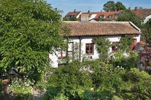 Eva och Björn har byggt till, och om, gästhuset helt, sedan de köpte huset för 16 år sedan. Trädgården lever sitt eget liv här nere och det växer oavbrutet.