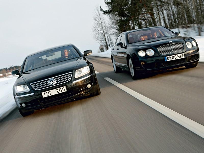 Provkörning av Bentley Flying Spur och Volkswagen Phaeton