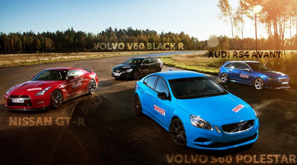 Volvo S60 Polestar, Nissan GT-R, Audi RS4 Avant och Volvo V60 T6 AWD Black R Polestar
