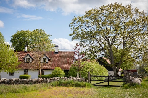 Gunnar Bohman köpte gården i östra Skåne för snart 20 år sedan. 2005 byggdes huset om och till. Gårdens 7 hektar mark breder ut sig åt alla håll, här är vyn från baksidan.