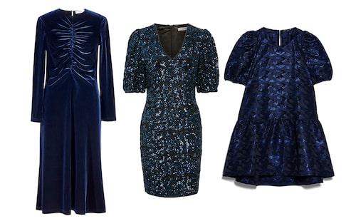 Festliga blå klänningar till nyårsafton 2019.