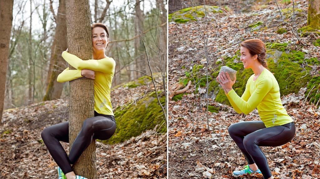 Träna genom att använda skogen som redskap. Att hänga i ett träd stärker hela kroppen!
