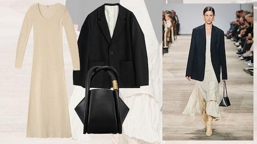 Ribbad beige klänning från Lindex, oversize-kavaj från Hope och handväska från Boyy.