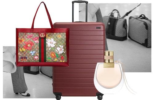 Väska från Gucci, bagage från Away och doft från Chloé.