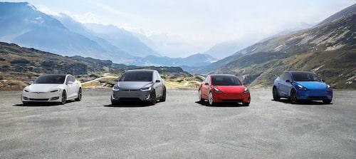 Teslas nuvarande modellpalett. Från vänster: Model S, Model X, Model 3 och Model Y.