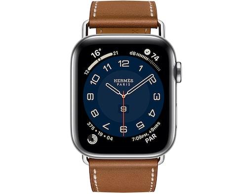 Vattentät Apple-klocka av rostfritt stål från Hèrmes. Klicka på bilden och kom direkt till klockan.