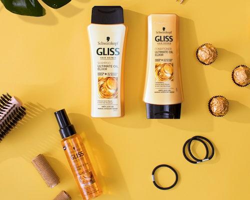 Den näringsgivande oljan i Gliss Ultimate Oil Elixir verkar stärkande i håret.
