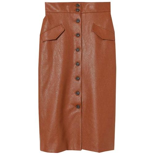 Brun skinnkjol med knappar fram från H&M.