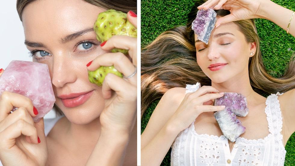 Miranda Kerr älskar kristaller och alla hennes hudvårdsprodukter är filtrerade genom rosenkvarts.