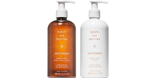 September Hand & Body Wash och September Hand & Body Lotion från Björk & Berries.