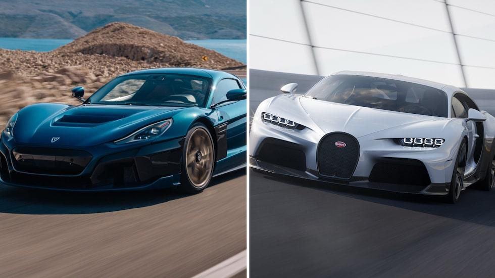 Rimac Nevera och Bugatti Chiron Super Sport. Två extrema bilar – den ena med fyra elmotorer, den andra med en 8,0 liter stor W16-bensinmotor.