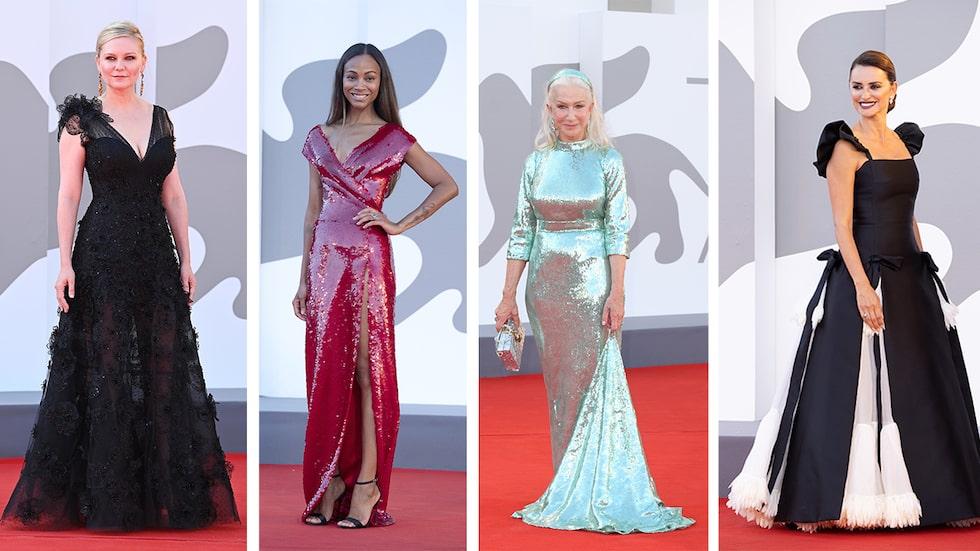 Kirsten Dunst, Zoë Saldaña, Helen Mirren och Penélope Cruz på röda mattan under Venedigs filmfestival 2021.