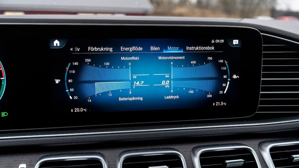 Det är enkelt att hålla ordning på energi och batteristatus i Mercedes operativsystem. Och det är lätt att bygga egna favoriter.