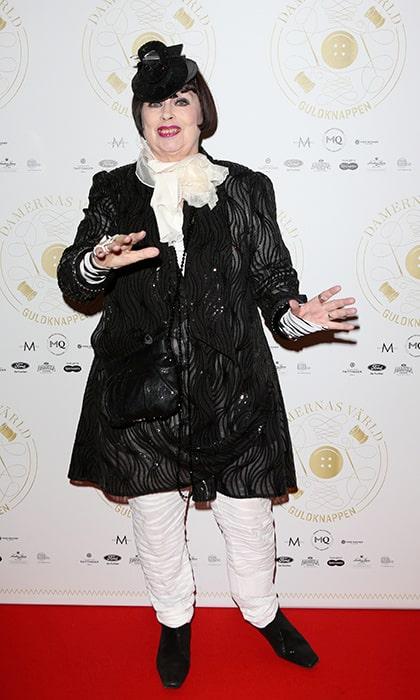 Gunilla Pontén på Damernas Värld Guldknappen-gala 2014 på Grand Hôtel.