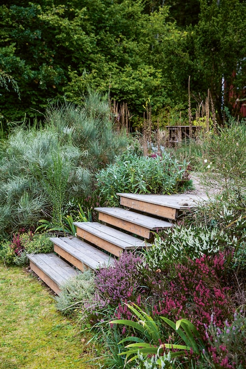Trappa som leder ned till trädgården.