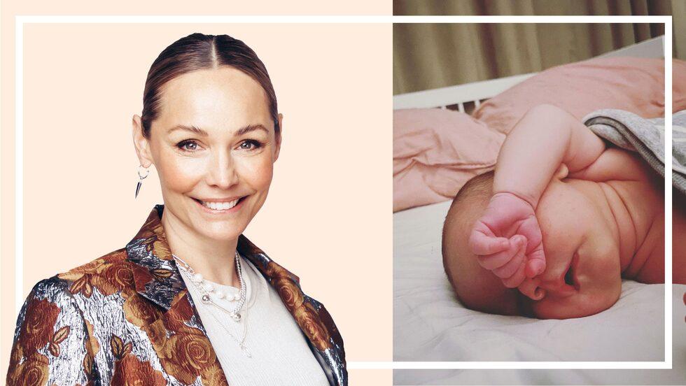 """Carina Berg fick en """"lätt och lugn"""" förlossning med lilla Juno."""