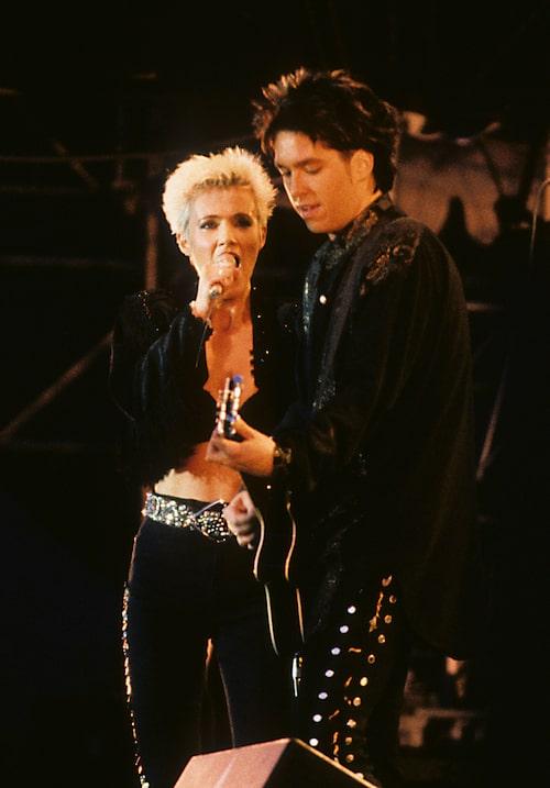 Marie och Per Gessle på scen under 90-talet.