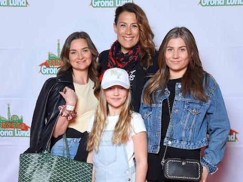 Jill på premiär med assistenten Victoria och barnen Bonnie och Havanna.