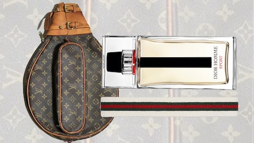 Racketfodral från Louis Vuitton, parfym från Dior, svettband från Gucci.