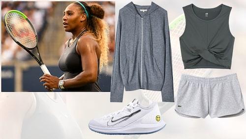 Hoodie från Filippa K, topp från H&M, shorts från Lacoste och skor från Nike.