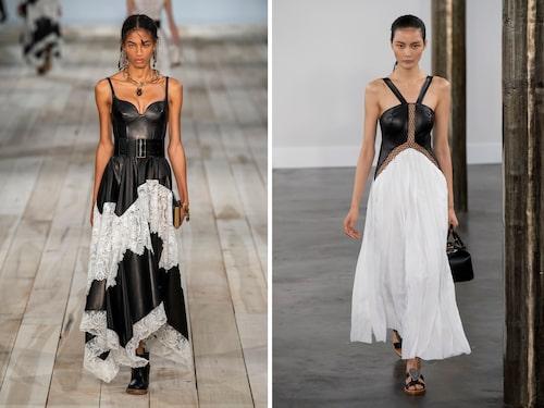 Hos Alexander McQueen och Gabriela Hearst lät man hårt, svart läder kontrasteras mot mjuka, vita material, i SS20-kollektionerna.
