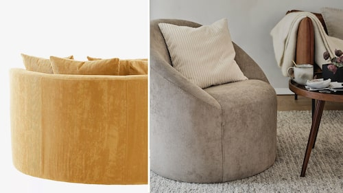 Ta in de lekfulla formerna i ditt hem i höst, gärna på lite större möbler som soffor och fåtöljer. Ockragul soffa Jotex och fåtölj Åhléns.