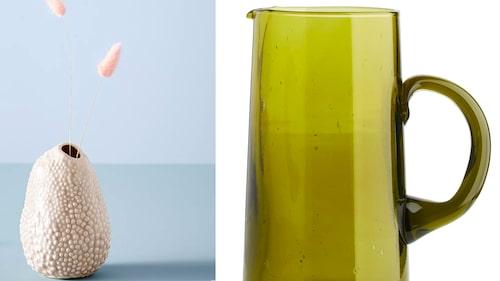 Handgjorda produkter i återvunnet material med charmiga skavanker och unicitet. Vas från Jotex och glaskanna från Arket.