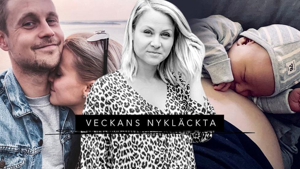 """Anton Uddfalk och Theodora Larsson träffades i """"Ensam mamma söker"""" 2019 och har nu fått en gemensam son."""