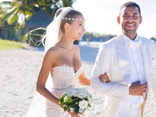 Elena Belle och Michael Theanne gifte sig på paradisön Bora Bora 2016.