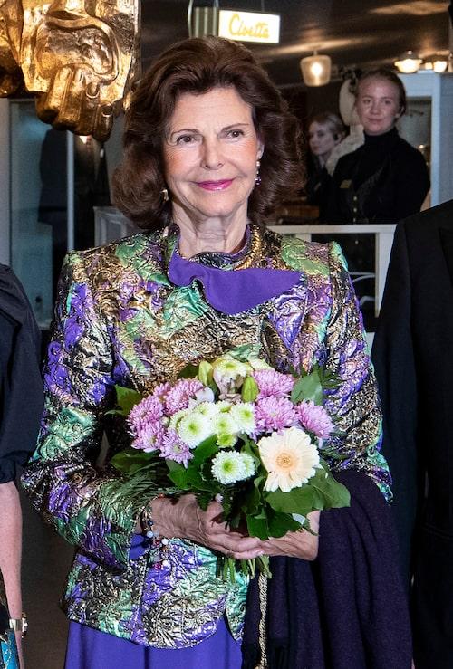 Drottning Silvia anländer till Malmö Operas 75-årsjubileumskonsert, 2019.