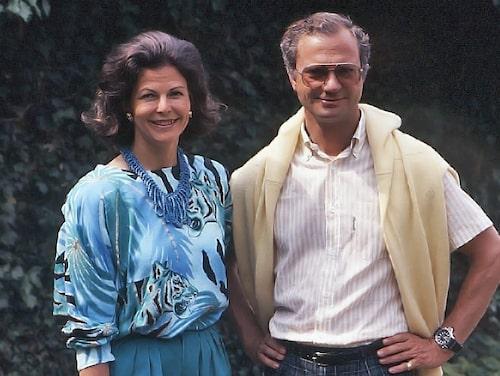 Drottning Silvia och kung Cal XVI Gustaf på Solliden sommaren 1988.