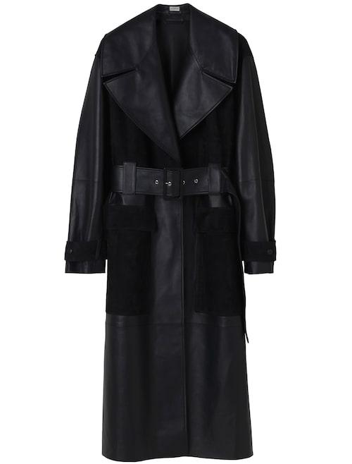 Kappa från By Malene Birger i läder med markerad midja. Klicka på bilden och kom direkt till kappan.