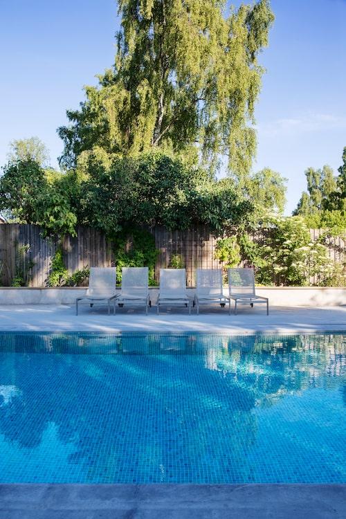 Träden erbjuder ett naturligt solskydd vid poolen, praktiskt! Men man vill inte ha dem för nära vattnet, för då blir det många löv att fiska upp. Blått kakel utstrålar fräschör och däcket av betong ger ett stilrent intryck.