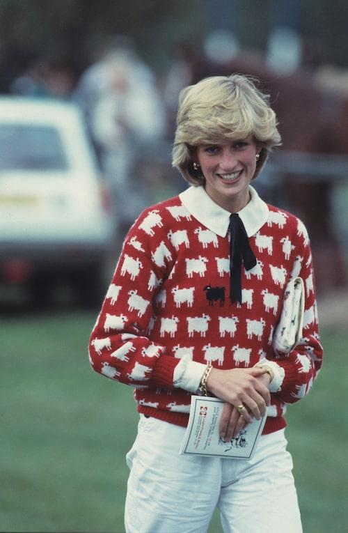 Diana på polomatch 1983.